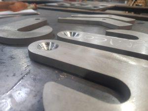 Waterjet cut, stainless steel, custom hooks, countersinking
